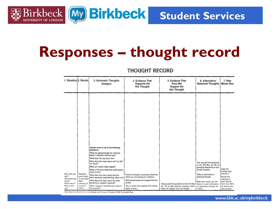 Responses – thought record