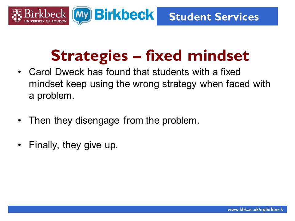 Strategies – fixed mindset
