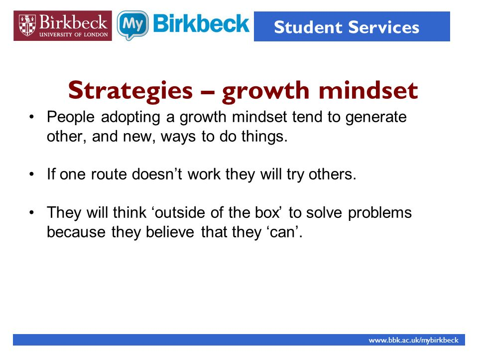 Strategies – growth mindset