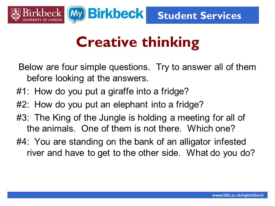 Creative thinking #1: How do you put a giraffe into a fridge