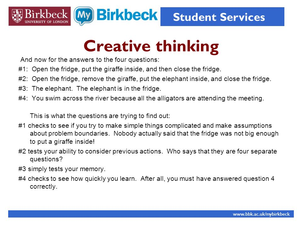 Creative thinking Student Services