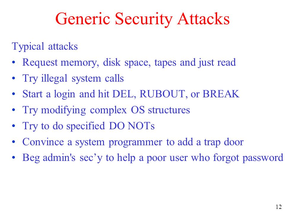Generic Security Attacks