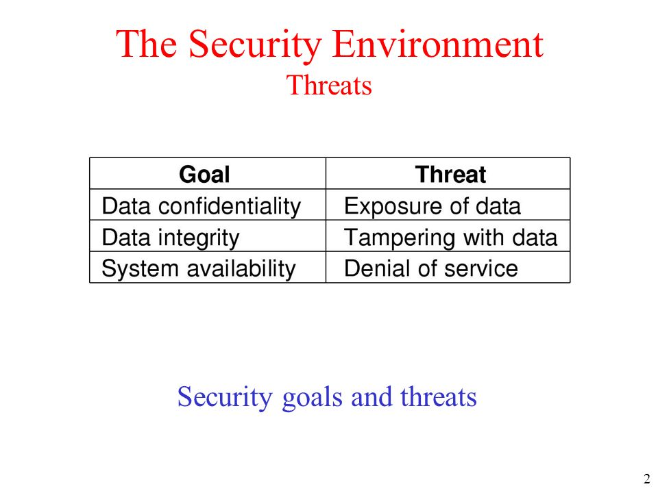 The Security Environment Threats