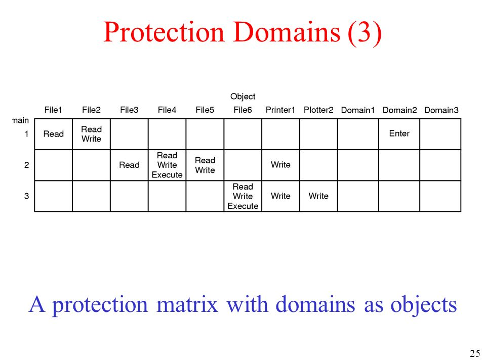 A protection matrix with domains as objects