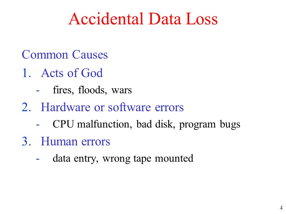 Accidental Data Loss Common Causes Acts of God