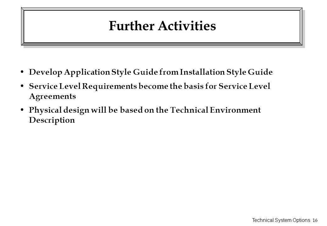 Further Activities Develop Application Style Guide from Installation Style Guide.