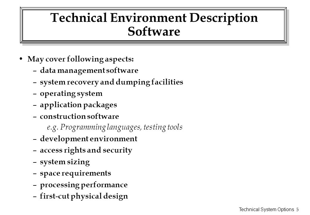 Technical Environment Description Software
