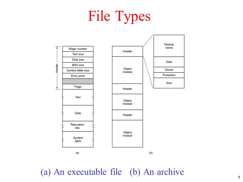 File Types (a) An executable file (b) An archive