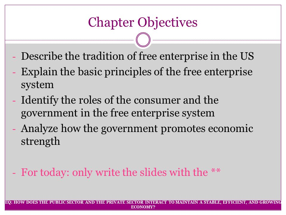 Chapter Objectives Describe the tradition of free enterprise in the US