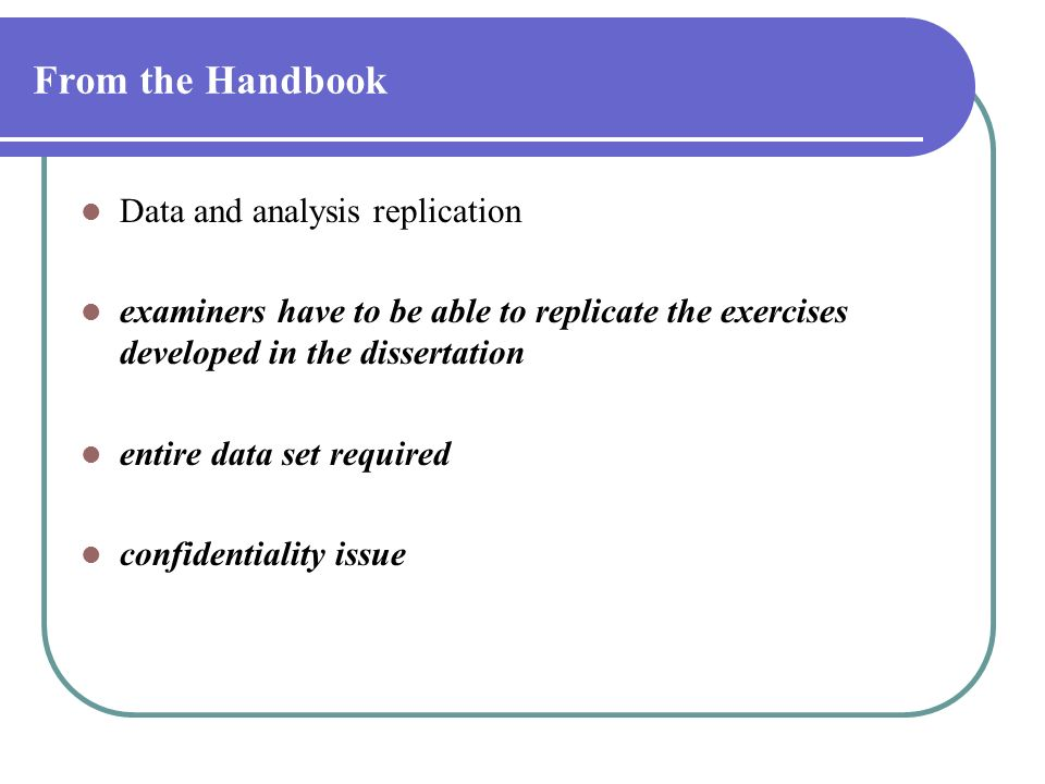 From the Handbook Data and analysis replication