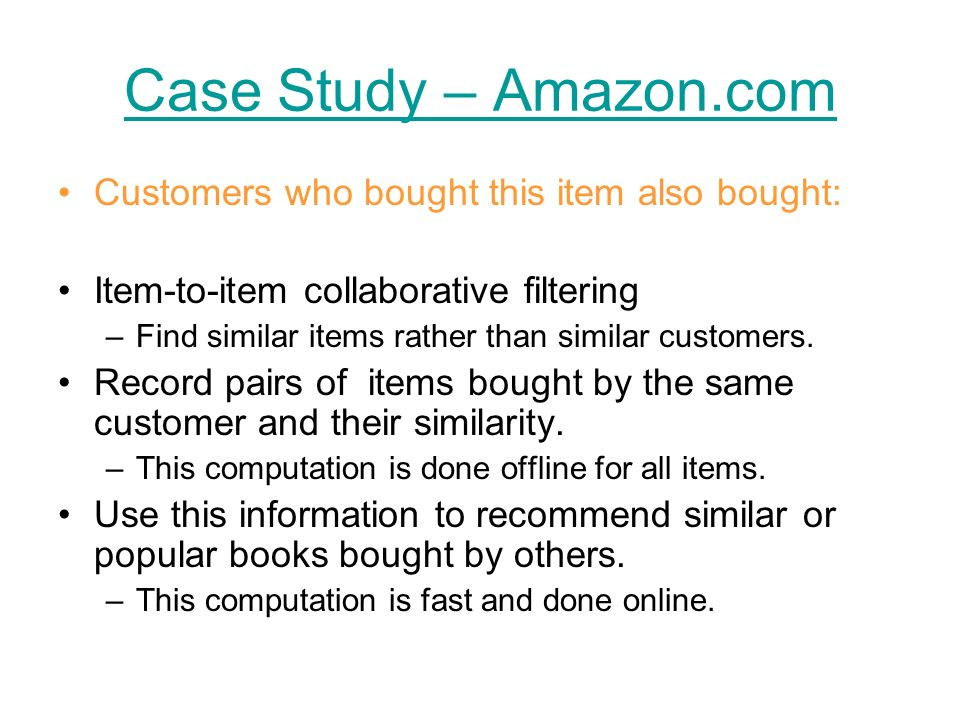 Case Study – Amazon.com Customers who bought this item also bought: