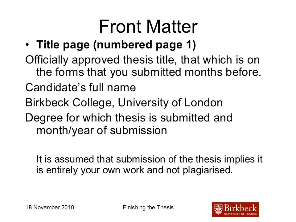 Front Matter Title page (numbered page 1)