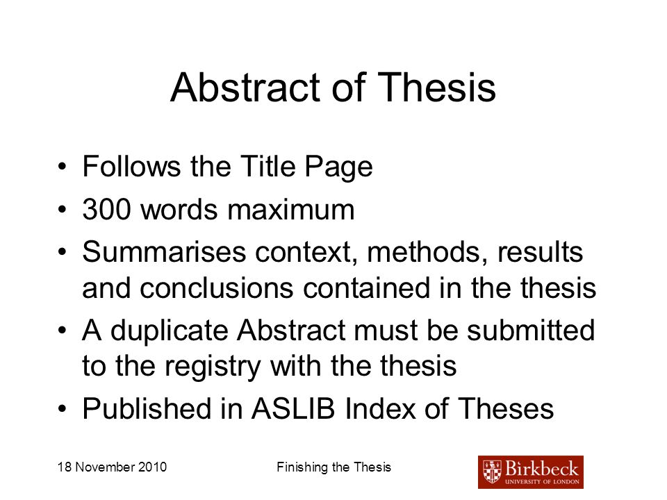 Abstract of Thesis Follows the Title Page 300 words maximum