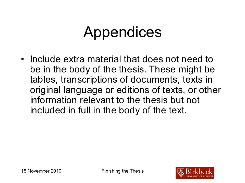 An appendix to a dissertation
