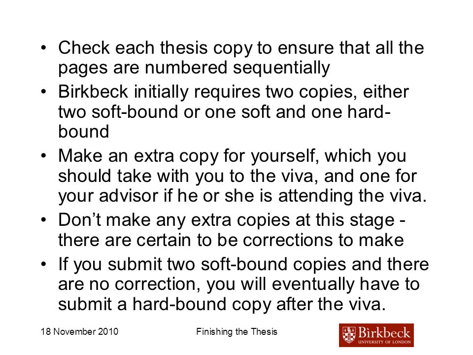 Check each thesis copy to ensure that all the pages are numbered sequentially