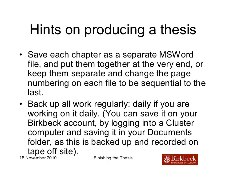 Hints on producing a thesis