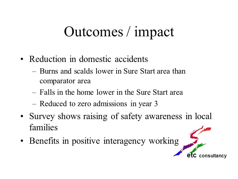 Outcomes / impact Reduction in domestic accidents