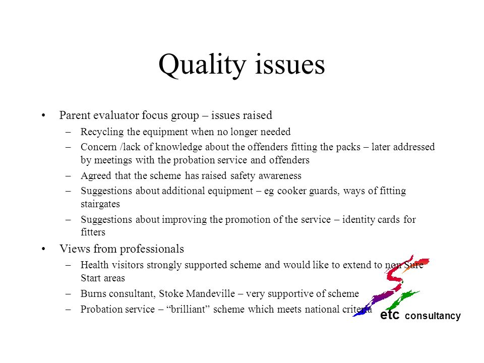 Quality issues Parent evaluator focus group – issues raised