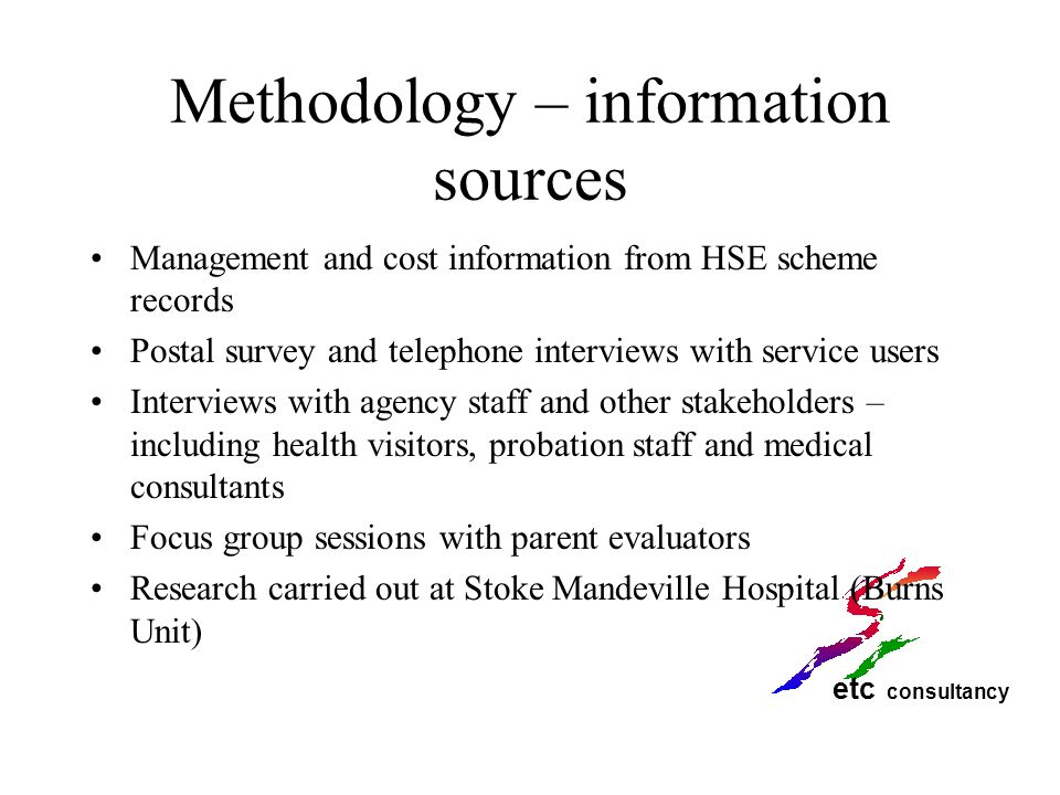 Methodology – information sources