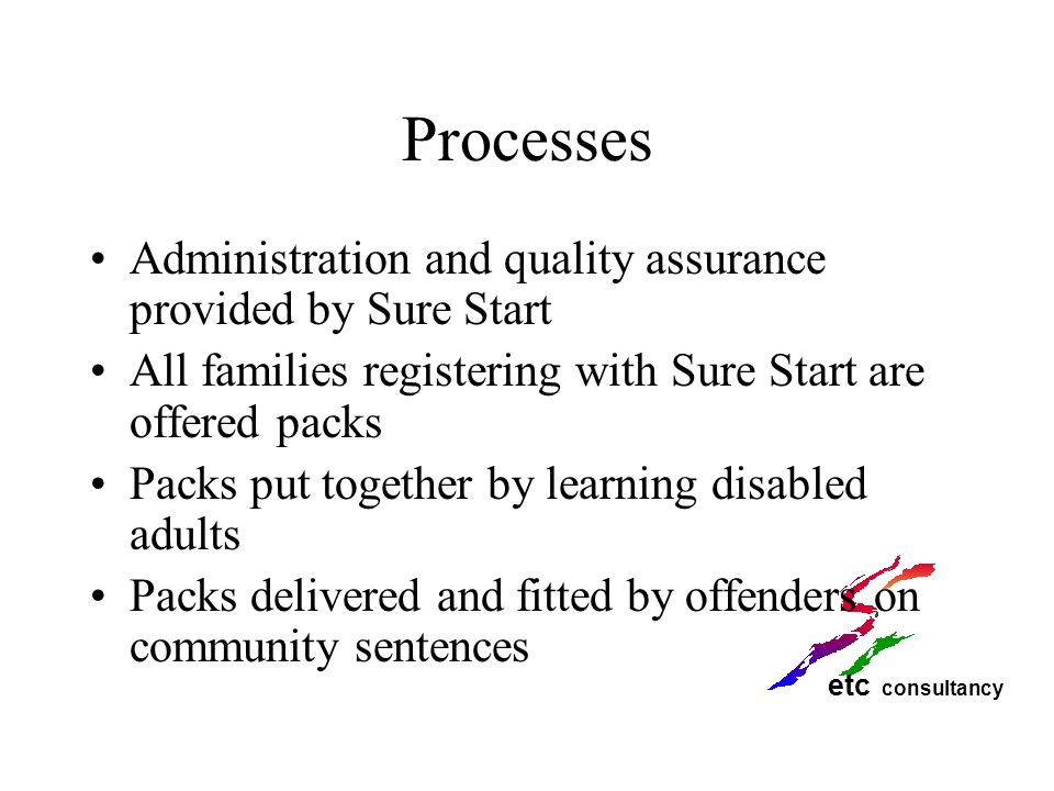 Processes Administration and quality assurance provided by Sure Start
