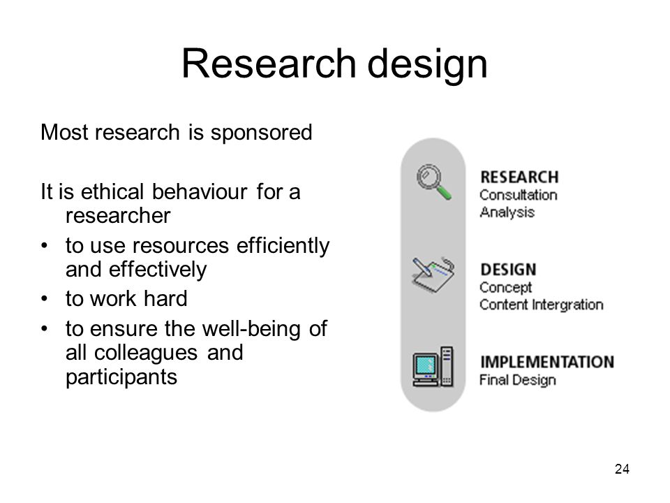 Research design Most research is sponsored
