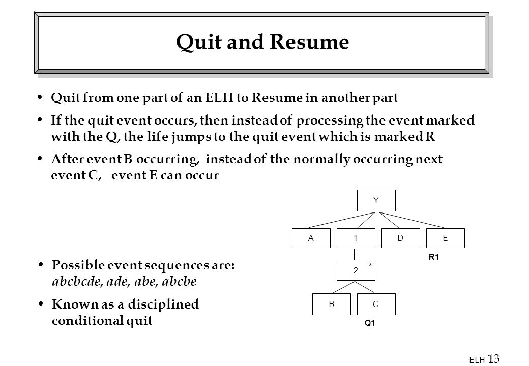 Quit and Resume Quit from one part of an ELH to Resume in another part