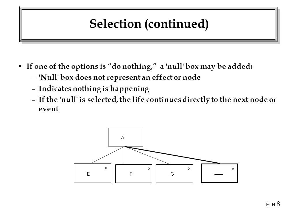Selection (continued)