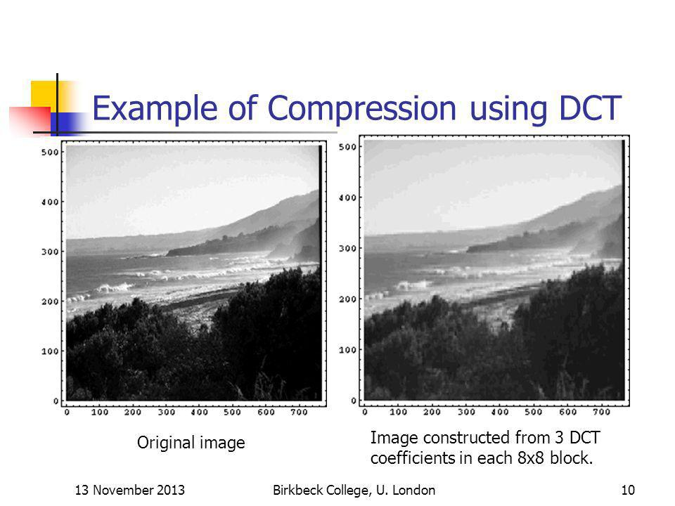 Example of Compression using DCT
