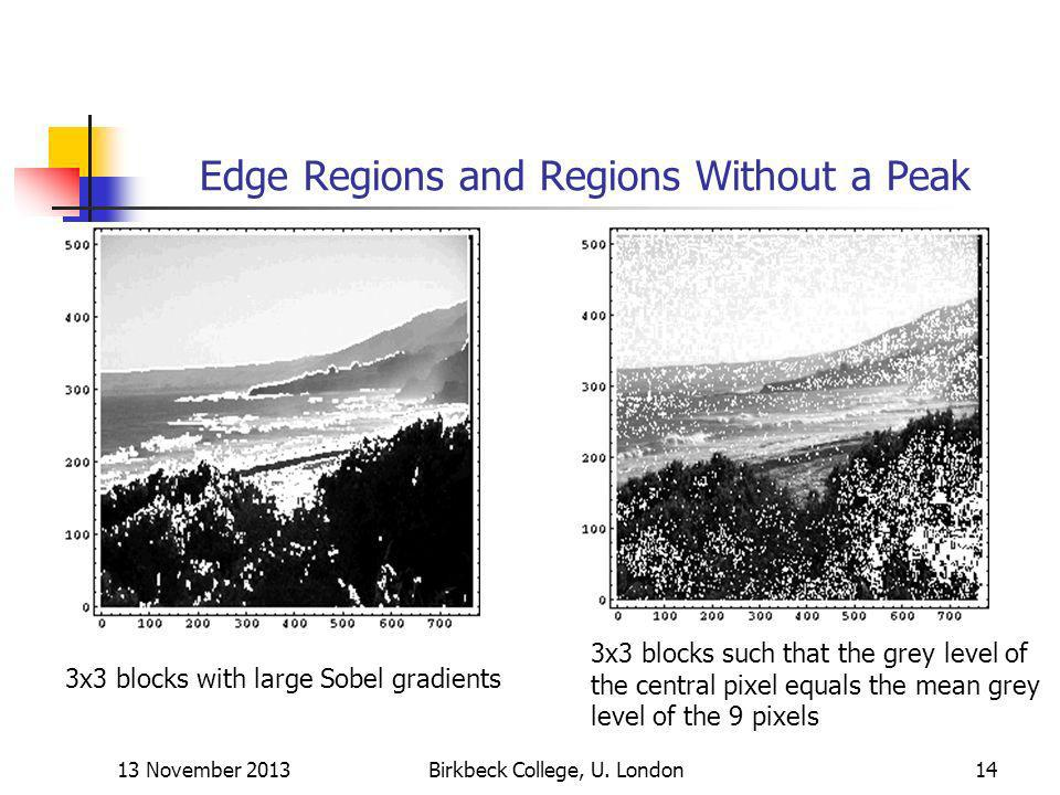 Edge Regions and Regions Without a Peak