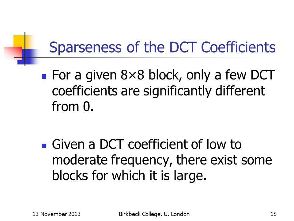Sparseness of the DCT Coefficients