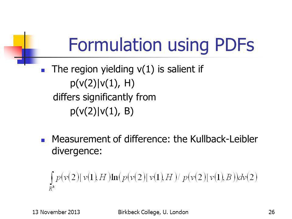 Formulation using PDFs