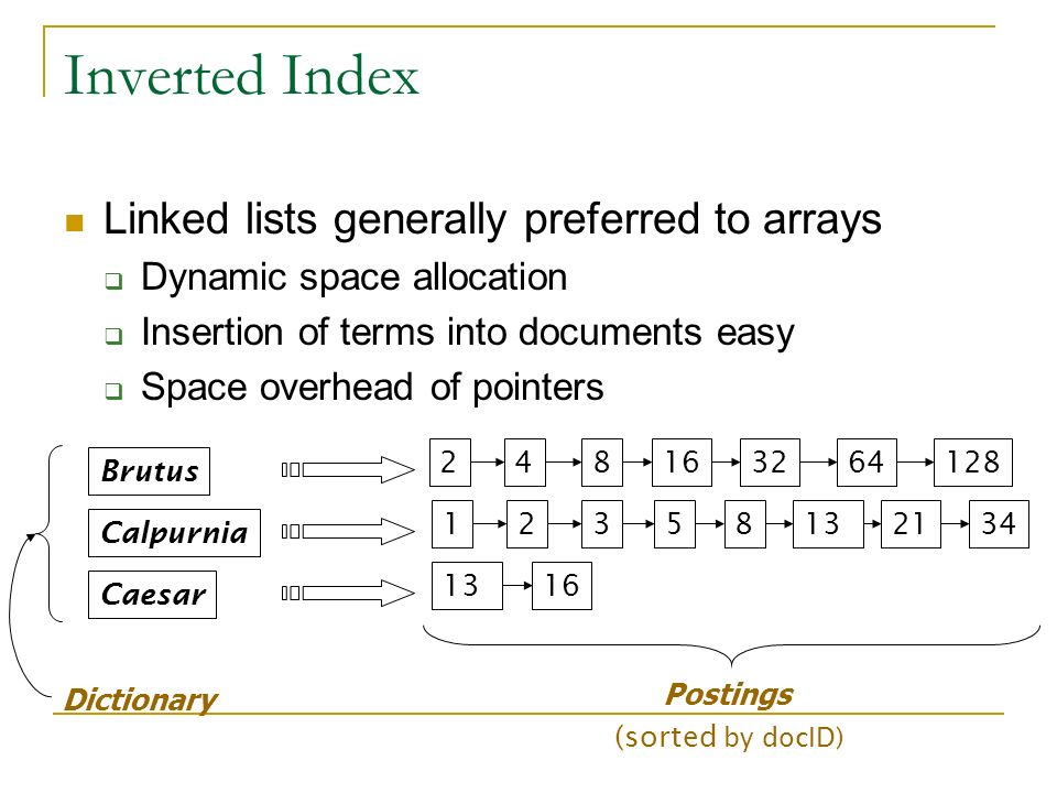 Inverted Index Linked lists generally preferred to arrays