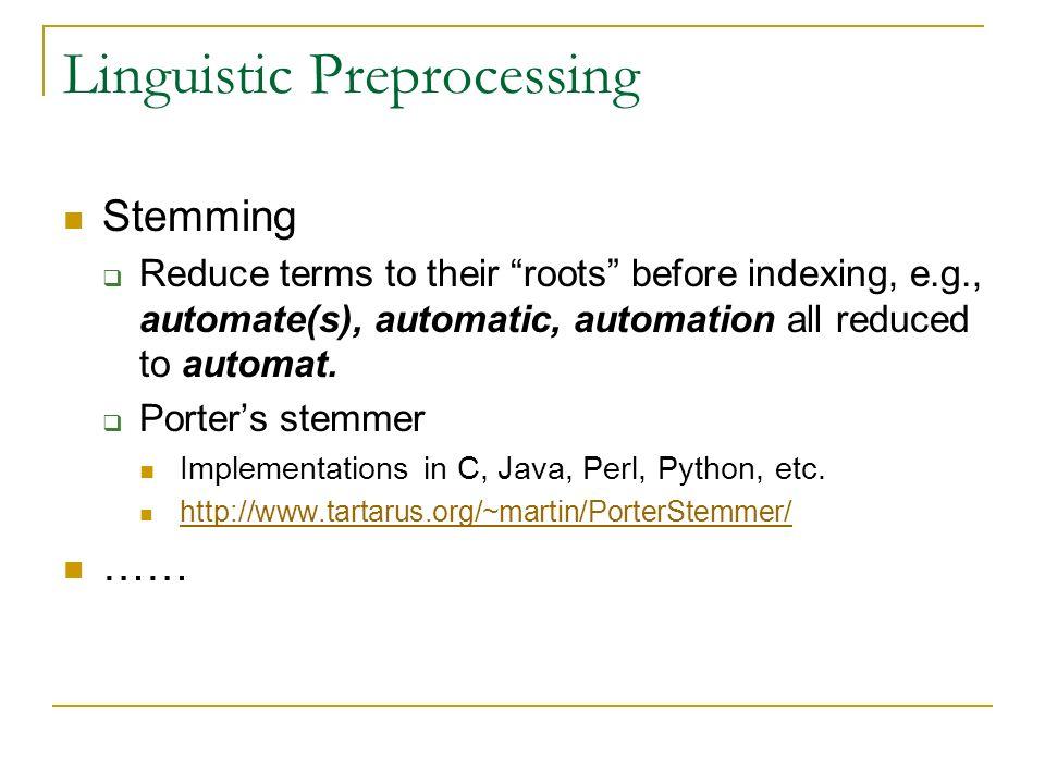 Linguistic Preprocessing