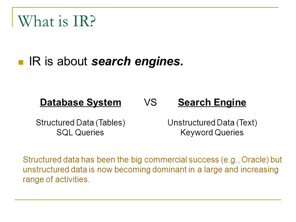 What is IR IR is about search engines. Database System VS