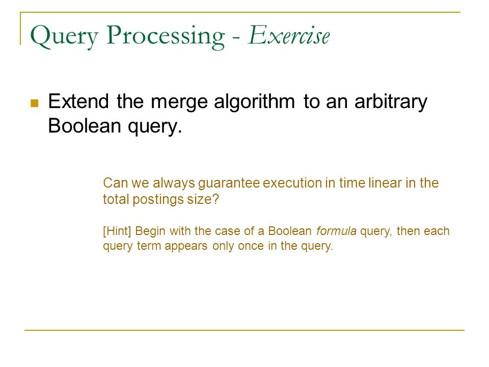 Query Processing - Exercise