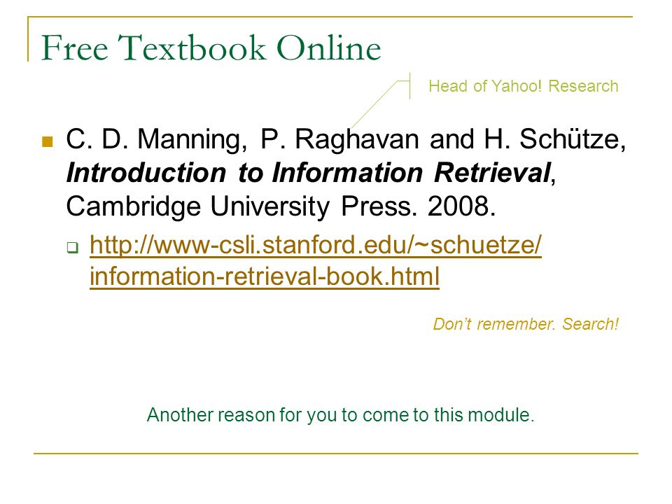 Free Textbook Online Head of Yahoo! Research.