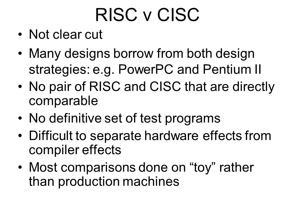 RISC v CISC Not clear cut