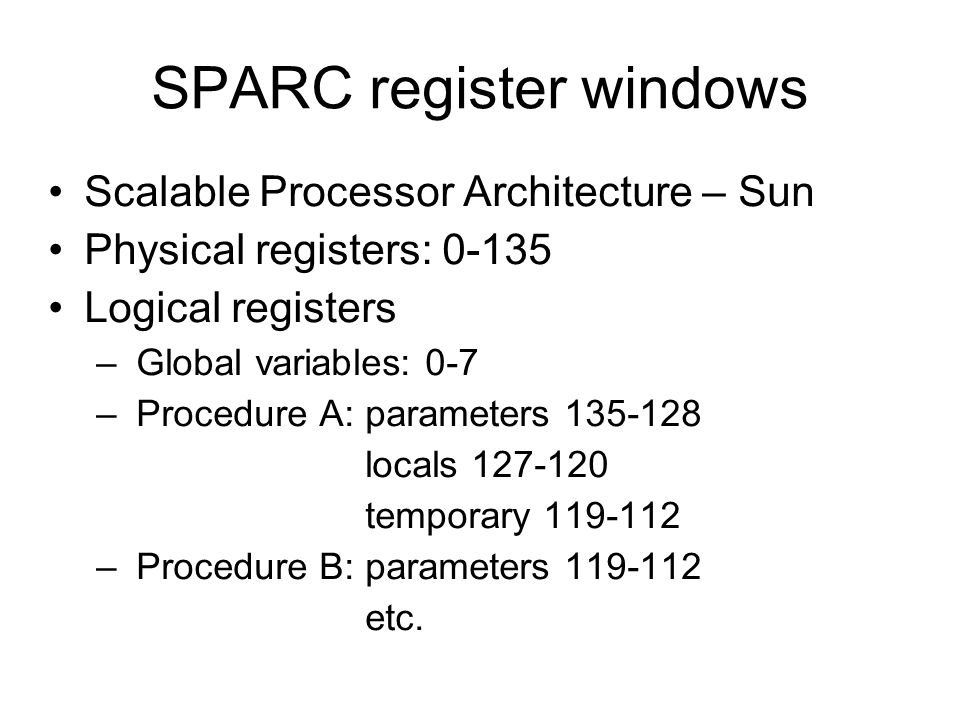 SPARC register windows