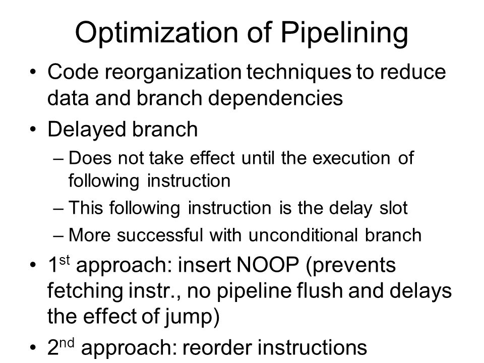 Optimization of Pipelining