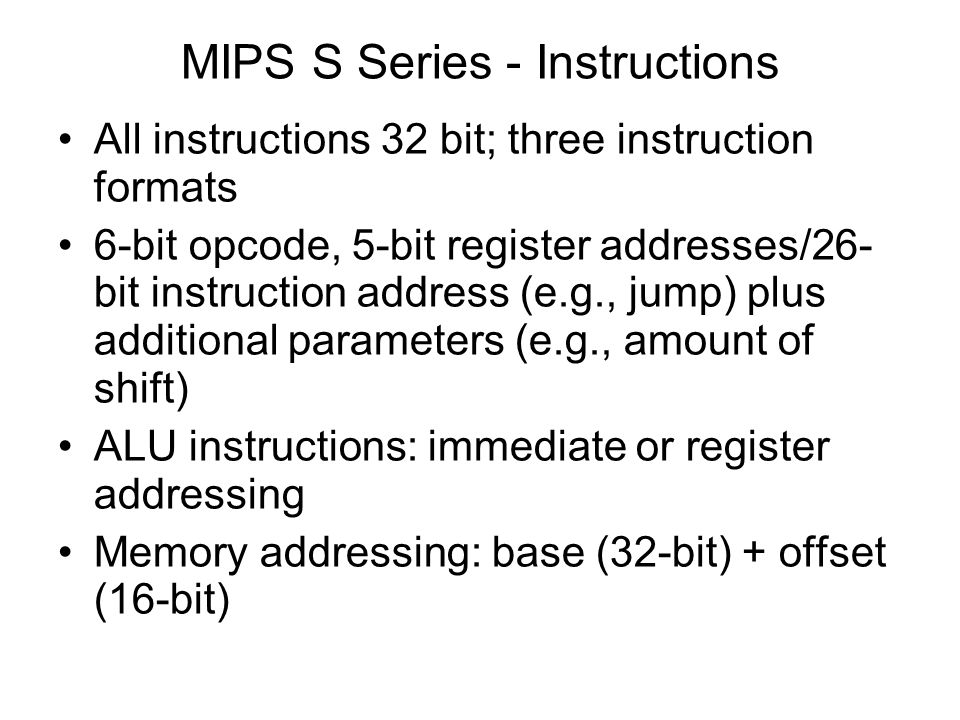MIPS S Series - Instructions