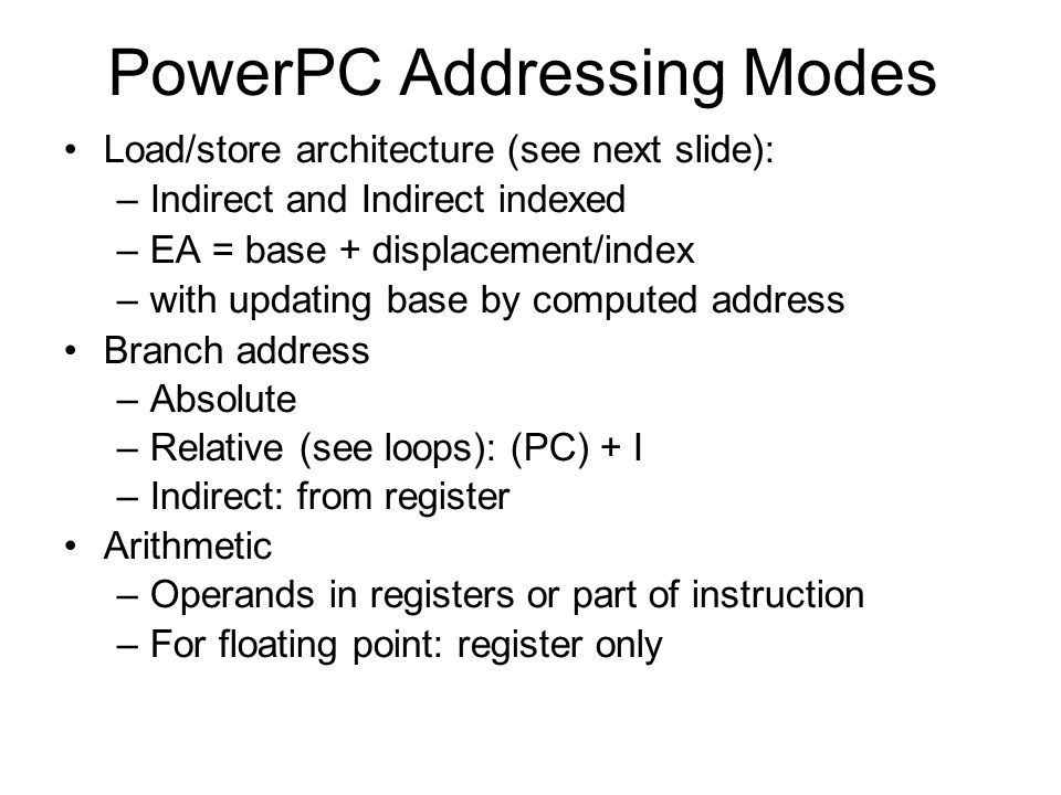 PowerPC Addressing Modes