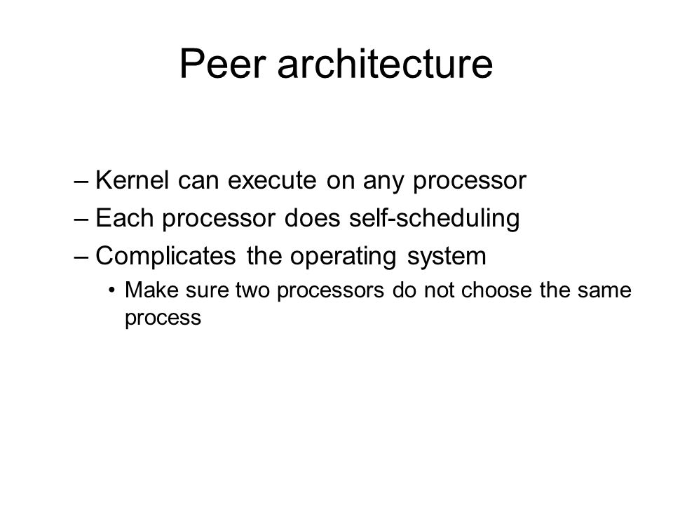 Peer architecture Kernel can execute on any processor