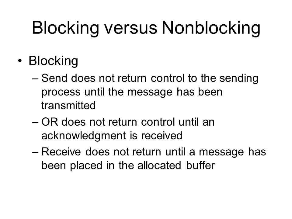 Blocking versus Nonblocking