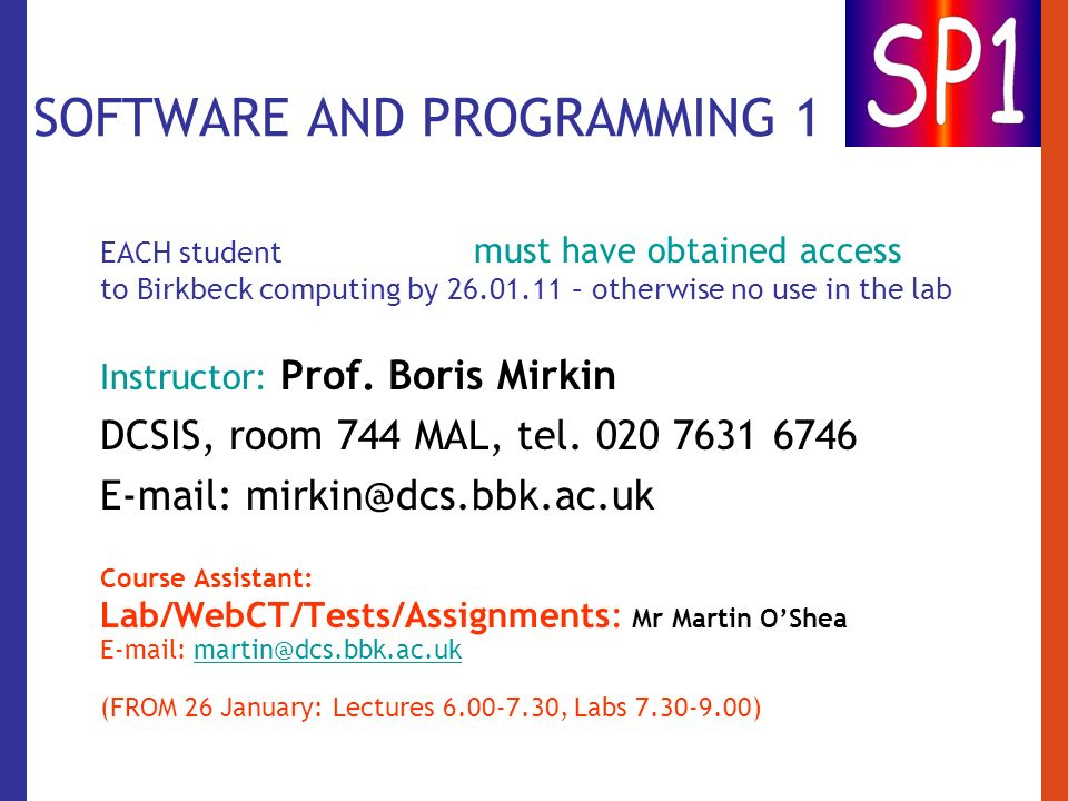 SOFTWARE AND PROGRAMMING 1