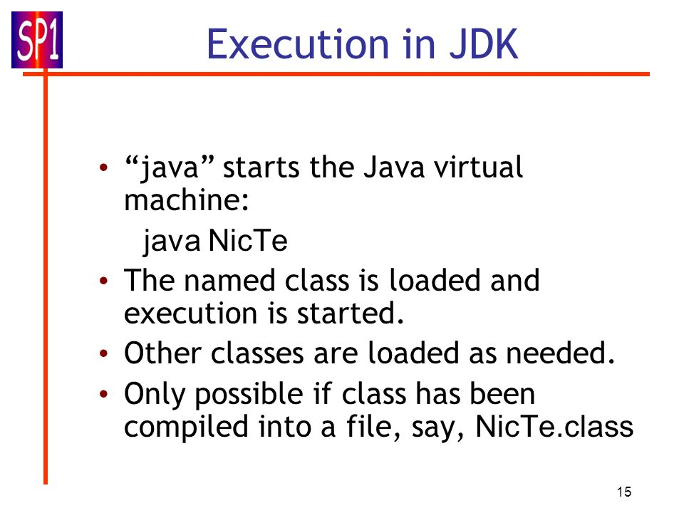 Execution in JDK java starts the Java virtual machine: java NicTe
