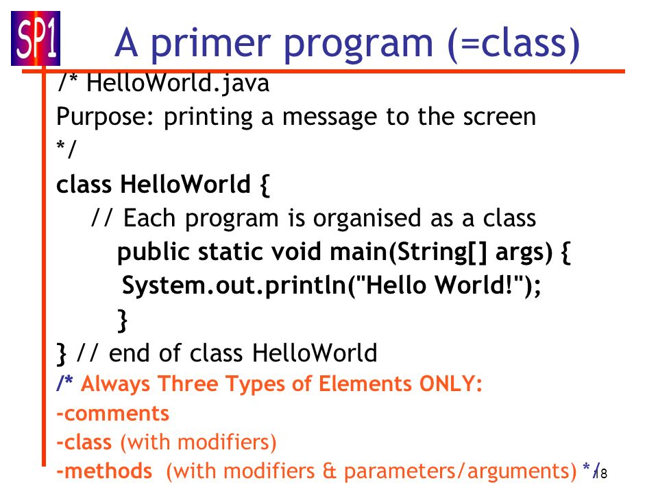 A primer program (=class)
