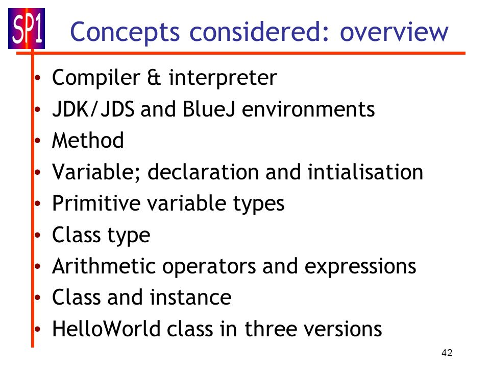 Concepts considered: overview