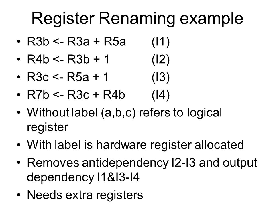 Register Renaming example