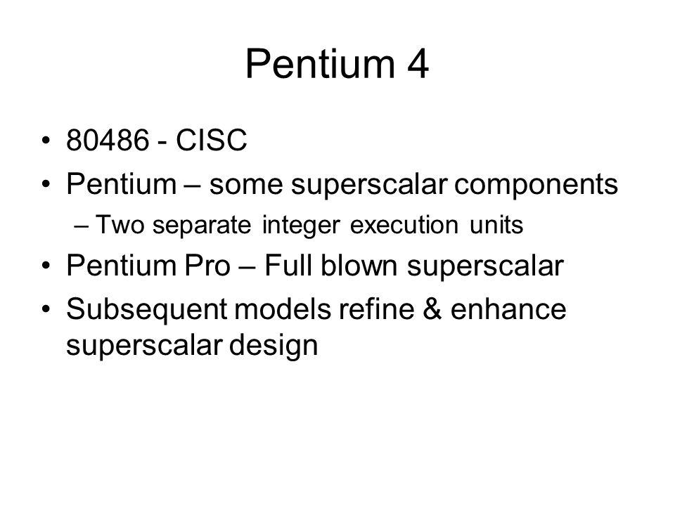 Pentium 4 80486 - CISC Pentium – some superscalar components