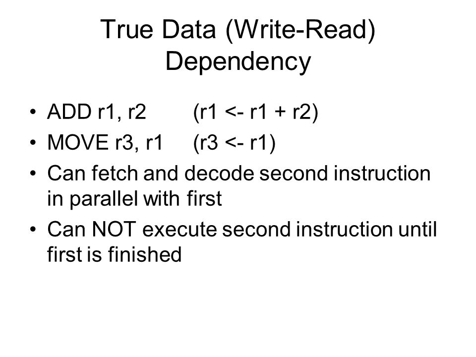 True Data (Write-Read) Dependency